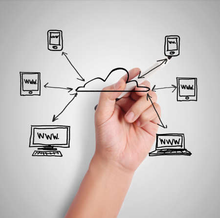 Business man drawing social network  photo