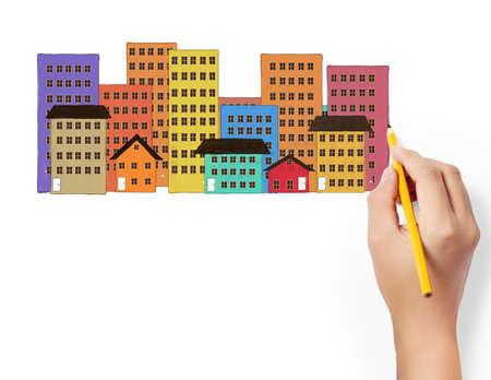 жилье: рисунок Здания и городской пейзаж