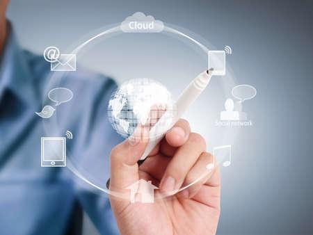business communication: modern social buttons