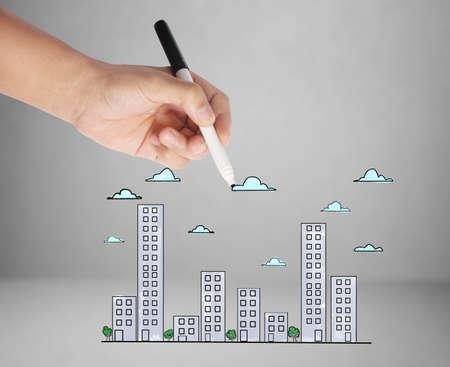 Zeichnung Gebäude und das Stadtbild Standard-Bild - 21926378