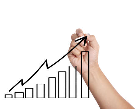 Business man drawing a graph  photo