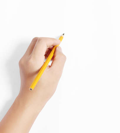 pencil in the hand  rubber writting something