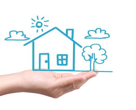 Haus holding darstellen Wohneigentum und das Real Estate Geschäft Standard-Bild - 23185888