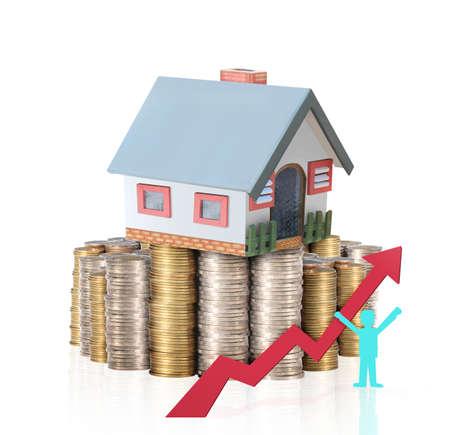 Mortgage Konzept Geld Haus aus Münzen Standard-Bild - 23185898