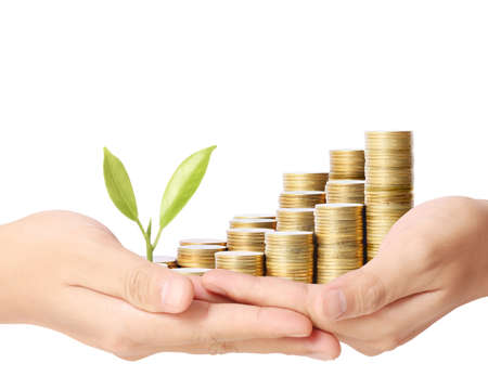 holding plant sprouting from a handful of coins  photo