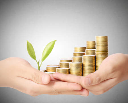holding plant sprouting from a handful of coins