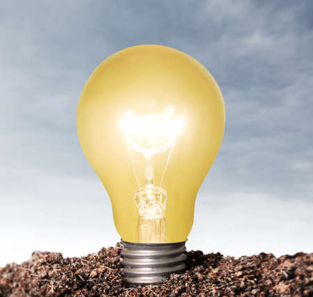ideas, energy saving light bulb  Stock Photo - 23545189