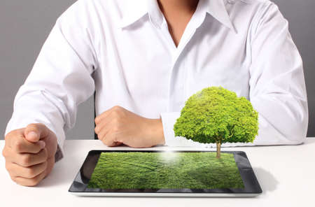 tablet computer with grass field and tree on it photo