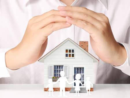 houden huis vertegenwoordigt eigenwoningbezit en de Real Estate bedrijf Stockfoto