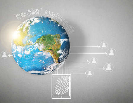 social network and globe on gray background  photo