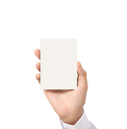 handing a blank business  card over in hand  photo
