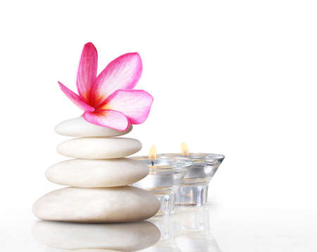 spa concept massage stones with frangipani plumeria flower  photo
