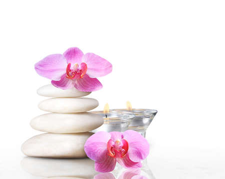 spa concept massage stones with orchid plumeria flower  photo