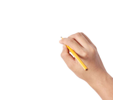 hands with pencil writting something  photo