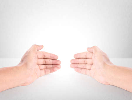 Open palm hand gesture of male hand  Stock Photo - 27005846
