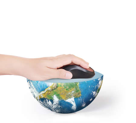 Hand with computer mouse and globe photo