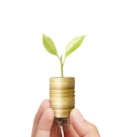 Businessman holding plant sprouting from a handful of coins  photo