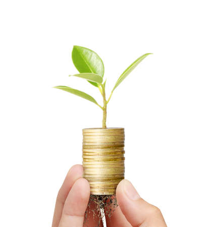 Businessman holding plant sprouting from a handful of coins  Standard-Bild