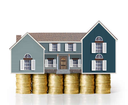 mortgage concept by money house from coins
