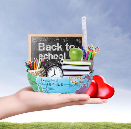Globe, and pencils. accessories. Back to school concept.  photo