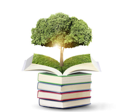Book of nature with tree isolated