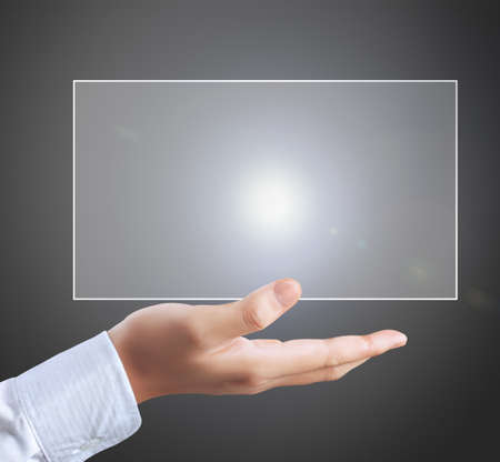 Man touch screen social networking,business photo