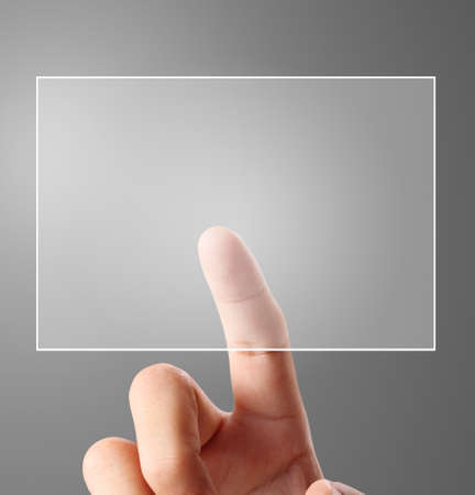 control panel: Man touch screen social networking,business Stock Photo