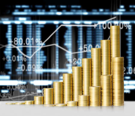 Investeringen concept, Munten grafiek beurs