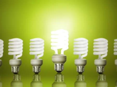 energy savings: Energy saving fluorescent light bulb Stock Photo