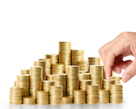 Hand put coin to money ,Business idea photo