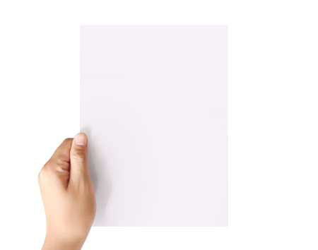 holding white a blank A4 paper Stock Photo