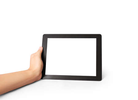 wireless tool: Man holding touch screen tablet