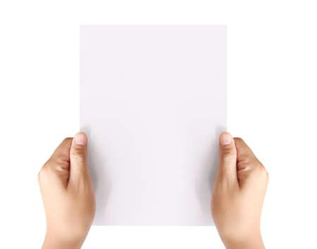 tenant un papier A4 blanc vierge Banque d'images