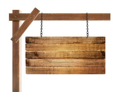空の木製看板ぶら下げのクローズ アップ