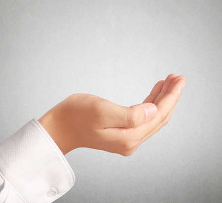 open palm: Open palm a hand gesture isolated on white background Stock Photo
