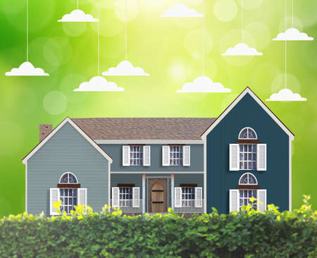 economic rent: Mortgage concept, House in green field