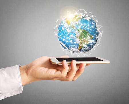Smartphone touch screen social networking,business photo