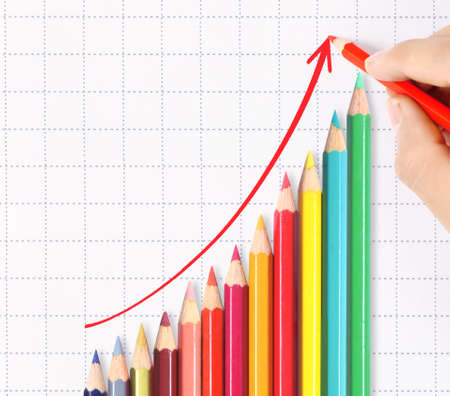 winning stock: Colorful pencil graph stock market