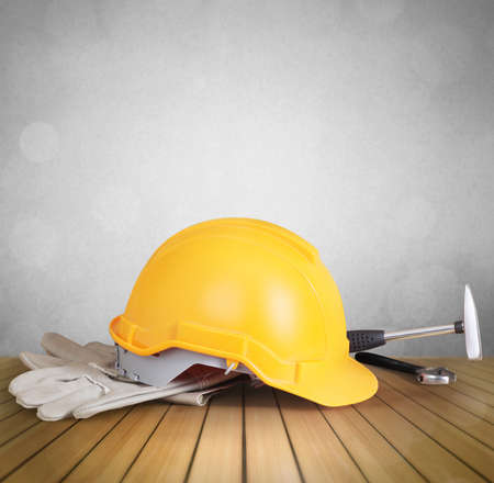 yellow helmet: Yellow helmet plastic safety and tools , protection concept