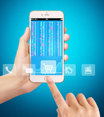 technology market: Touch screen smartphone,application on a screen