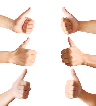 body parts: Human hands showing thumbs, body parts concept Stock Photo