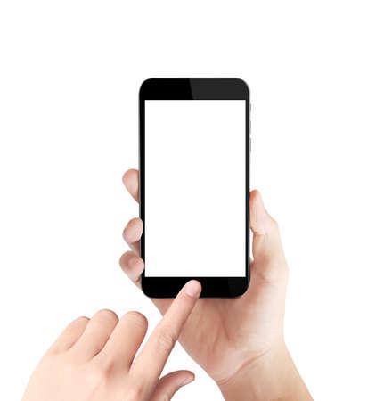 mãos: Smartphone de tela de toque na m Imagens