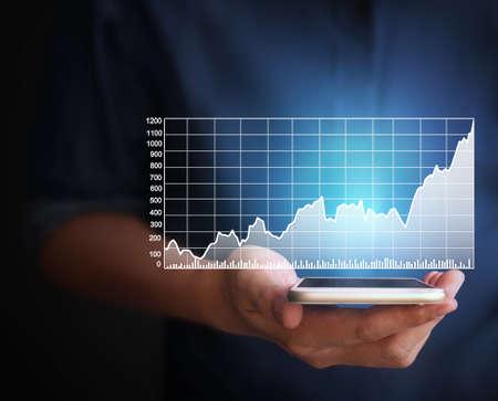 money online: Touch screen smartphone in hand