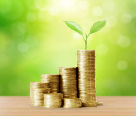 investment concept: Investment concept. Coins graph stock market Stock Photo