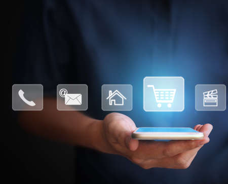Tactile smartphone à écran à la main Banque d'images - 45798534