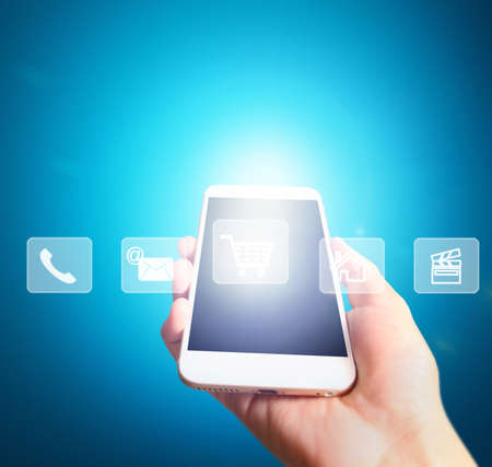 banking concept: Touch screen smartphone in hand
