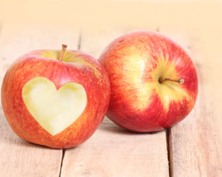 missing bite: Heart Shape love and Apple Stock Photo