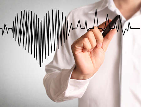 hand heart: High resolution man drawing heartbeat