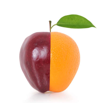 missing bite: Apple and a orange fruit