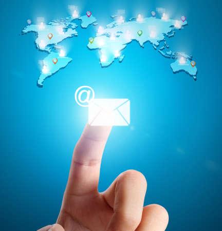 social web: hand pressing modern social buttons Stock Photo